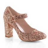 Gold 9 cm SABRINA-07 Pumps Shoes with Cuben Heels