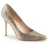 Gold Glitter 10 cm CLASSIQUE-20 big size stilettos shoes