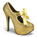 Gold Rhinestone 14,5 cm Burlesque TEEZE-04R Platform Pumps Women Shoes