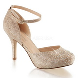 Gold Rhinestone 9 cm COVET-03 Low Heeled Classic Pumps Shoes