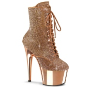 Gold Rose rhinestones 18 cm ADORE-1020CHRS pleaser high heels ankle boots