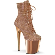 Gold Rose rhinestones 20 cm FLAMINGO-1020CHRS pleaser high heels ankle boots