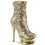 Gold Sequins 15,5 cm BLONDIE-R-1009 pleaser ankle boots with platform