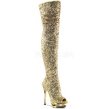 Gold Sequins 15 cm PLEASER BLONDIE-R-3011 Platform Over Knee Boots
