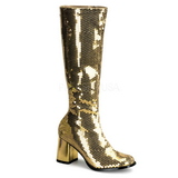 Gold Sequins 8 cm SPECTACUL-300SQ Womens Boots for Men