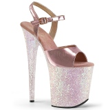 Gold glitter 20 cm Pleaser FLAMINGO-809LG Pole dancing high heels shoes