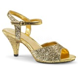 Gold glitter 8 cm BELLE-309G transvestite shoes