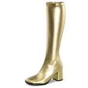 Golden patent boots 7,5 cm GOGO-300 High Heeled Womens Boots for Men