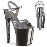 Gray chrome platform 20 cm XTREME-809TTG pleaser high heels shoes