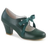 Green 6,5 cm WIGGLE-32 Pinup Pumps Shoes with Cuben Heels