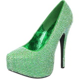 Green Rhinestone 14,5 cm TEEZE-06R Platform Pumps Women Shoes