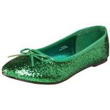 Green STAR-16G glitter flat ballerinas womens shoes
