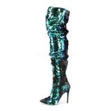 Green Sequins 13 cm COURTLY-3011 Pleaser Overknee Boots