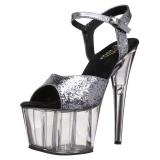 Grigio 18 cm ADORE-710GT scintillare plateau sandali donna con tacco