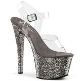 Grigio 18 cm SKY-308LG scintillare plateau sandali donna con tacco