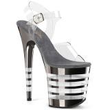 Grigio 20 cm FLAMINGO-808CHLN scarpe da cubista e spogliarellista cromo