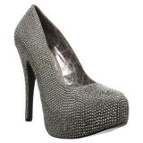 Grigio Strass 14,5 cm Burlesque TEEZE-06RW scarpe décolleté per piedi larghi da uomo
