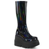 Hologram 11,5 cm SHAKER-65 demonia knee boots wedges platform