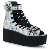 Hologram 7 cm DEMONIA GRIP-105 goth ankle boots with buckles