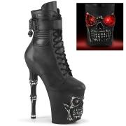 LED Skull platform 20 cm pleaser high heels ankle boots - black