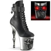 LED Skull platform 20 cm pleaser high heels ankle boots - chrome