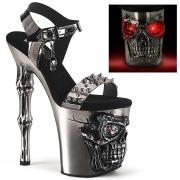 LED Skull platform 20 cm pleaser high heels - chrome