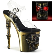 LED Skull platform 20 cm pleaser high heels transparent - copper