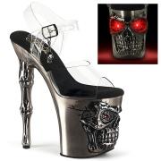 LED Skull platform 20 cm pleaser high heels transparent - pewter