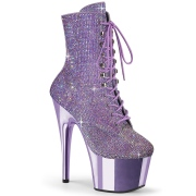 Lavender rhinestones 18 cm ADORE-1020CHRS pleaser high heels ankle boots
