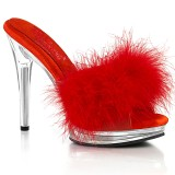 Leatherette 12,5 cm GLORY-501F-8 Red mules high heels with marabou feathers