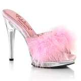 Leatherette 12,5 cm GLORY-501F-8 Rosa mules high heels with marabou feathers