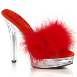 Leatherette 13,5 cm MAJESTY-501F-8 Red mules high heels with marabou feathers