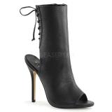 Leatherette 13 cm AMUSE-1018 peep toe ankle boots womens