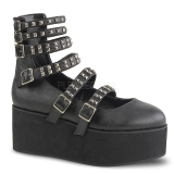Leatherette 7 cm DEMONIA GRIP-31 goth ankle boots with buckles