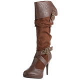 Marrone 11,5 cm CARRIBEAN-216 stivali donna con fibbie e plateau alto