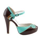Marrone 11,5 cm retro vintage BETTIE-17 Pinup scarpe décolleté con plateau nascosto