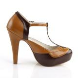 Marrone 11,5 cm retro vintage BETTIE-29 Pinup scarpe décolleté con plateau nascosto