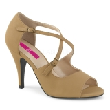 Marrone Ecopelle 10 cm DREAM-412 grandi taglie sandali donna