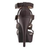 Marrone Ecopelle 14,5 cm Burlesque TEEZE-42W tacco alto per piedi larghi da uomo