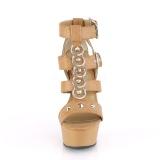 Marrone Ecopelle 15 cm DELIGHT-658 scarpe pleaser con plateau e tacco alto