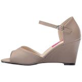 Marrone Ecopelle 7,5 cm KIMBERLY-05 grandi taglie sandali donna