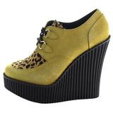 Marrone Ecopelle CREEPER-304 scarpe creepers zeppe altissime