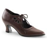 Marrone Matto 7 cm retro vintage VICTORIAN-03 scarpe décolleté con tacchi bassi
