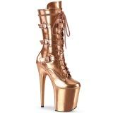Metallic 20 cm FLAMINGO-1053 stivali fibbie con tacco e piattaforma oro