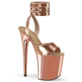 Metallic 20 cm FLAMINGO-891 pleaser high heels with ankle straps