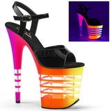 Multicolore Neon 20 cm Pleaser FLAMINGO-809UVLN Plateau Tacchi Alti a Spillo