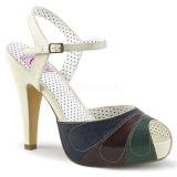 Multicolored 11,5 cm BETTIE-27 Pinup sandals with hidden platform