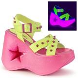 Neon 13 cm Demonia DYNAMITE-02 scarpe lolita sandali con zeppa