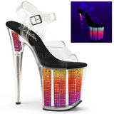 Neon 20 cm FLAMINGO-808SRS Sandali Donna Plateau di Cristallo