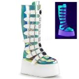 Neon 9 cm DAMNED-318 stivali donna con fibbie e plateau alto